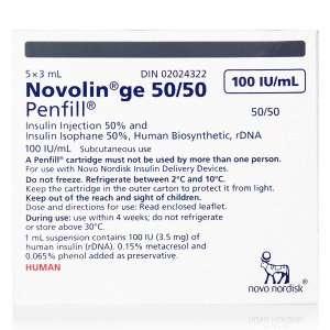 Novolin GE 50 / 50 Penfill Cartridge 100 Units / mL