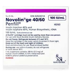 Novolin GE 40 / 60 Penfill Cartridge 200 Units / mL