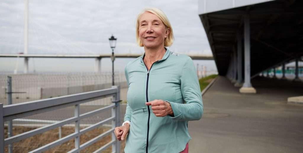 Senior female jogging