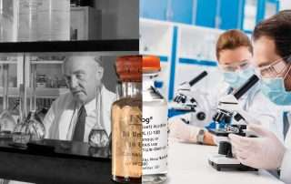 Scientists working on insulin - past vs present