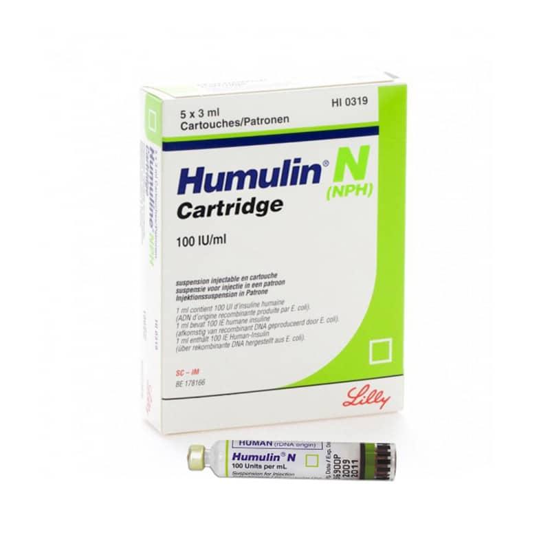 Humulin N Cartridge 100u/mL Suspension